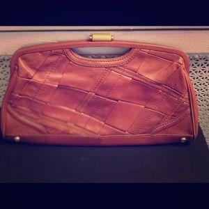 Elliott Lucca oversized leather clutch EUC